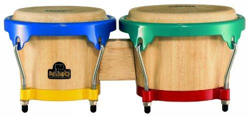 NINO Wood Bongos 6 1/2-Inch & 7 1/2-Inch Natural/Harlekin Hardware