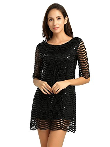 Deargles SS16001 Womens Sleeves Dress in Sequins Short Black 77qrfxw
