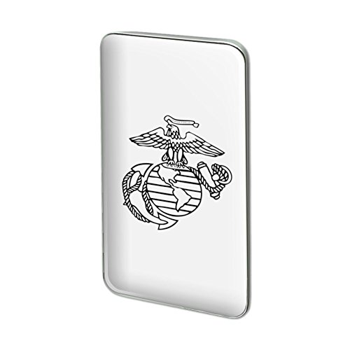 Marines USMC Black White Logo Licensed Rectangle Lapel Pin Tie - White Rectangle Logo And Black