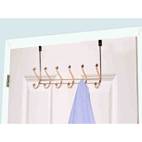 Home Basics Over the Door 6 Hook Towel Rack, Rose Gold 80%OFF
