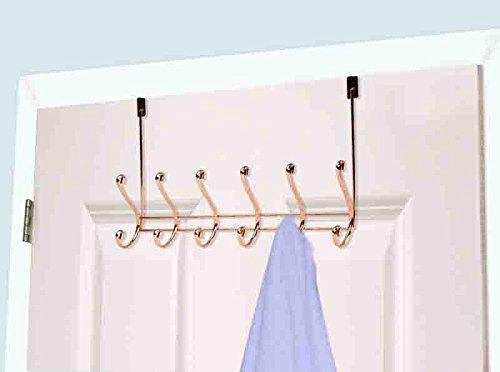Home Basics Over The Door 6 Hook Towel Rack, Rose Gold by Home Basics