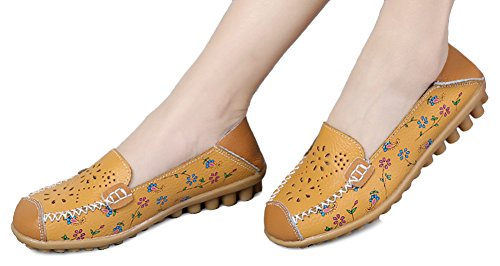 Fangsto Womens Leather Floral Loafers Flats Shoes Slip-Ons Sty-2 Yellow 7psanRl