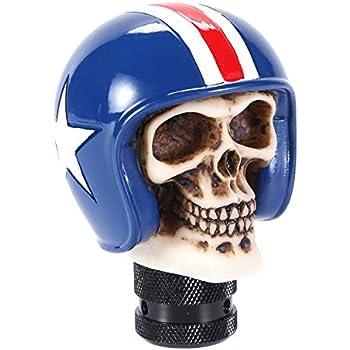 Red Bashineng Pirate Stick Shifter Knob Skull Shape Universal Gear Shift Head Fit Most Manual Cars