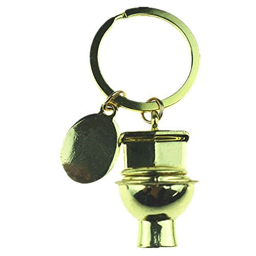 Muzuri Creative Keychain Gold Flushing Toilet/Western Toilet Fugure Close Stool Toilet Key Chain Luck Keyring Fashion Key Ring