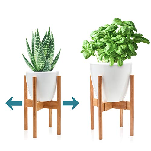 (DUNVELL Plant Stand Mid Century Modern - Bamboo Wood - Adjustable Width 8