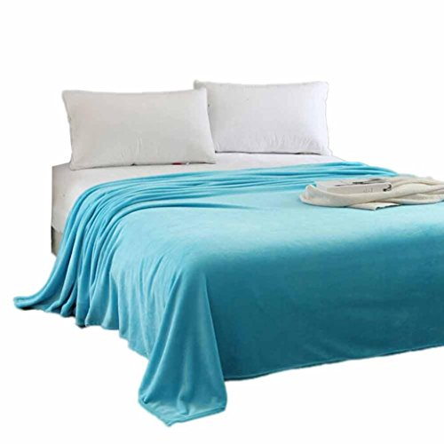 Han Shi Warm Blanket, Super Soft Micro Plush Fleece Throw Rug Sofa Bedding Mat Carpet (Sky Blue, L)