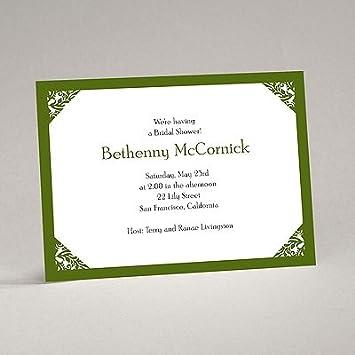 damask corners green bridal shower invitation