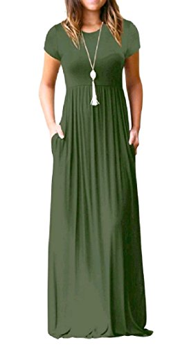 Sleeve Beach Women Coolred Solid Green Fashionable Long Pocket Color Short Dress Army pWYdAdF8qw
