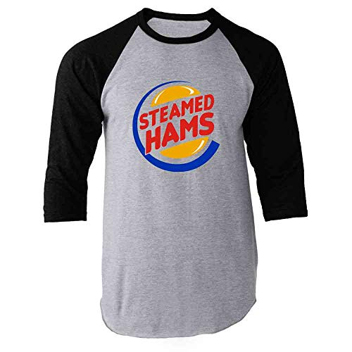 Skinner Shirt - Pop Threads Steamed Hams Logo Black L Raglan Baseball Tee Shirt