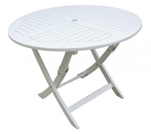 Gartentisch rund weiß  Amazon.de: Gartentisch rund, Holztisch, runder Tisch aus ...