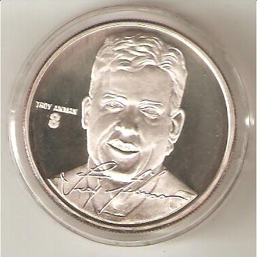 Highland Mint Coins (Highland Mint NFL Football Collectible Coin Silver: Troy Aikman - Dallas Cowboys - Hall of)