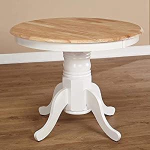 Simple Living Products Expandable Oak Pedestal Round Dining Table
