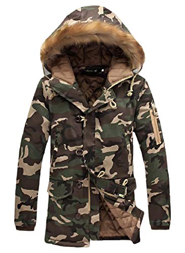 1 Down Comfort Plus Camo Men XINHEO Thicken Cotton Relaxed Fit Parka xavTw8pq