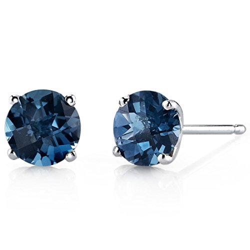 14 Karat White Gold Round Cut 2.00 Carats London Blue Topaz Stud Earrings -