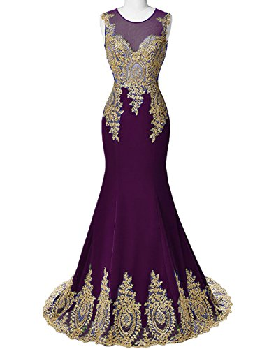 Formal DYS Evening Women's Dresses Grape Prom Appliques Neck Illusion Mermaid Lace XXdrwY