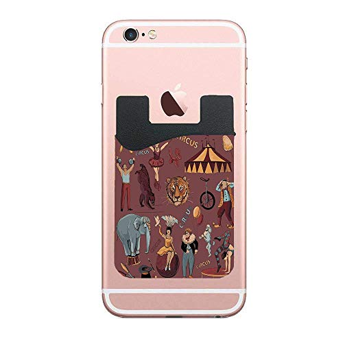 ZninesOnhOLD Retro Circus Print with Tent Tiger Head Balloons Dogs Art with Dark Coral Backdrop Cell Phone Card Wallet Phone Card Pocket for iPhone Android Samsung Galaxy 2 - Tent Tigers