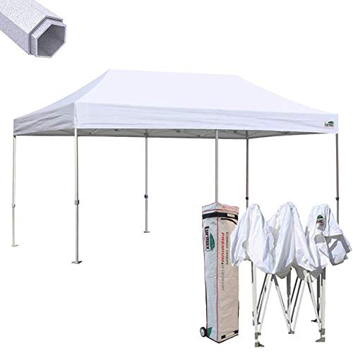 Eurmax Premium 10 x 20 EZ Pop up Canopy Tent Wedding Party Canopies Gazebo Shade Shelter Commercial Grade Bonus Wheeled Bag (White)