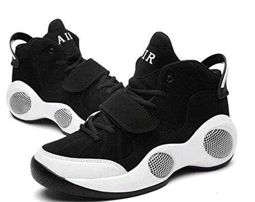 CSDM Uomo Respirabile Extra Largo Movimento più spessa Casual Running Scarpe da Basketball Scarpe da Tennis Sneakers , black , 44