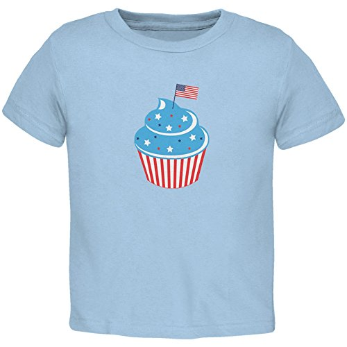 - Old Glory 4th of July American Flag Cupcake Light Blue Toddler T-Shirt - 4T