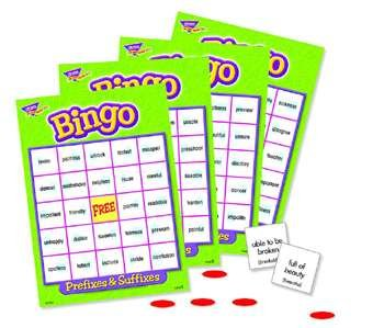 Trend Enterprises Inc PREFIXES & SUFFIXES Bingo Game