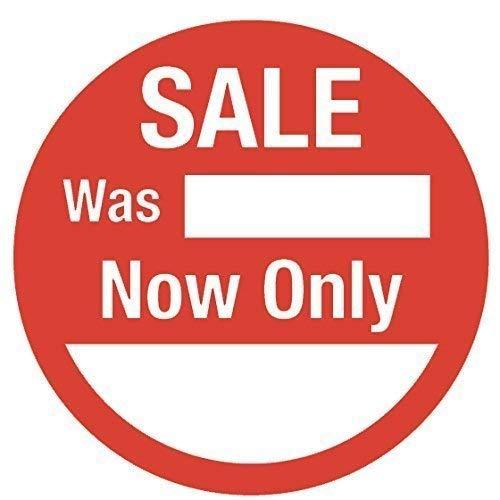 200 Circolare 25mm Rosso Adesivi per Prezzo//Etichette//Etichette Sale Was // Now Only
