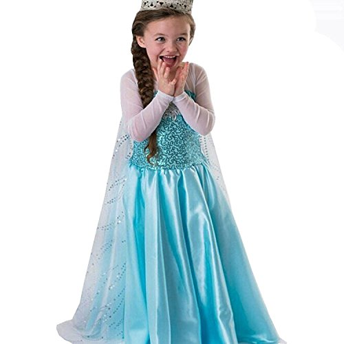 COSCOO Girls Snow Queen Costume Frozen Princess Dress with White Cloak (6Y-130cm for Height 120-130cm)]()