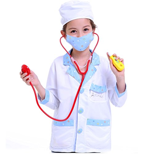 Child Surgeon Costumes (CalorMixs Children Doctor Role Play Dress-Up Surgeon Costume Set With accessories - Fits Children 3-8 Years (Standard Version))