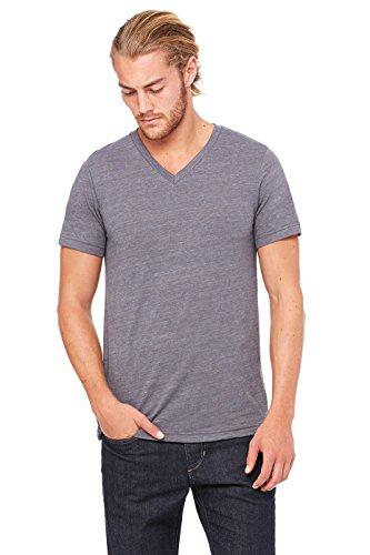 (Bella+Canvas Comfortable V-Neck Jersey T-Shirt, Medium, Asphalt Slub)