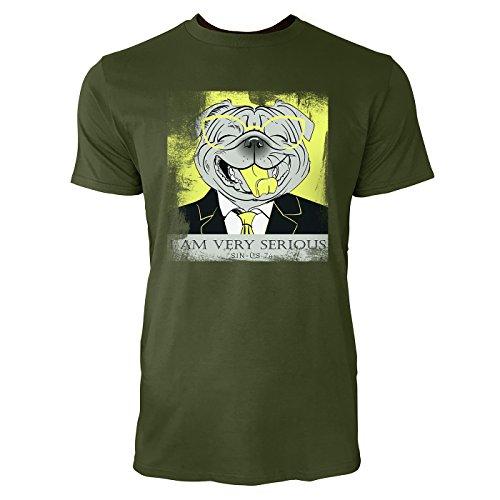 SINUS ART ® Lachender Hund mit Brille und Anzug – I Am Very Serious Herren T-Shirts in Armee Grün Fun Shirt mit tollen Aufdruck