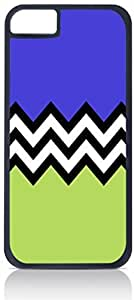 Black and White Chevron with Purple and Green Colorblock- Case for the Apple Iphone 6 Plus Only-Hard Black Plastic Outer Shell