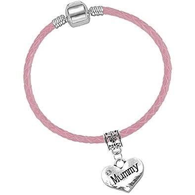 09910aa32 Mum Pink Leather Starter Charm Bracelet with Pendant and Gift Box (19cm  (Ladies Small)): Amazon.co.uk: Jewellery