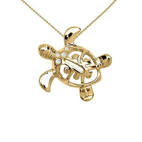 Dainty 14k Yellow Gold Diamond Hawaiian Lucky Charm Honu Turtle Pendant Necklace, ()
