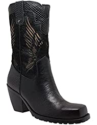 RideTecs Womens Black 11in Laser Eagle Boot Leather Motorcycle