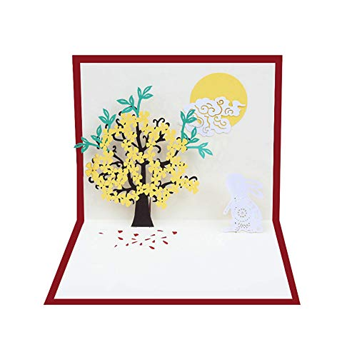 (3D Pop Up Rabbit Flowers Tree Greeting Card Mid Autumn Festival Cards Handmade Birthday Valentine Christmas Wedding Invitation Cards with Envelope )