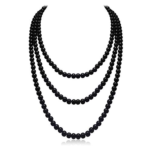 - So Pretty Black Long Pearl Necklace for Women Layered Faux Pearl Beads Strand Necklace Costume Jewelry, 69