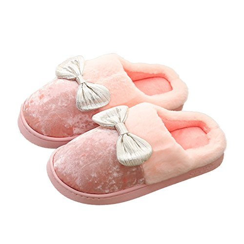 CYBLING Winter Womens Cotton Slippers Lovely Bowknot Fluffy Girls Fur Lining Home Slippers Antiskid Pink wUIyN9