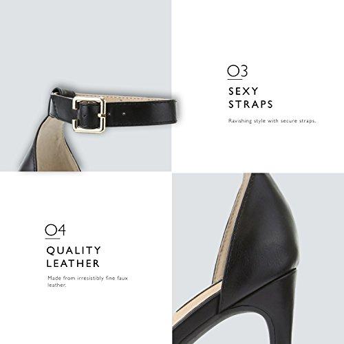 Dress Premium Women's High Ankle Pump Platform Shoes Casual Buckle Black Toe Sandal Open Evening Strap Heel qzrq6