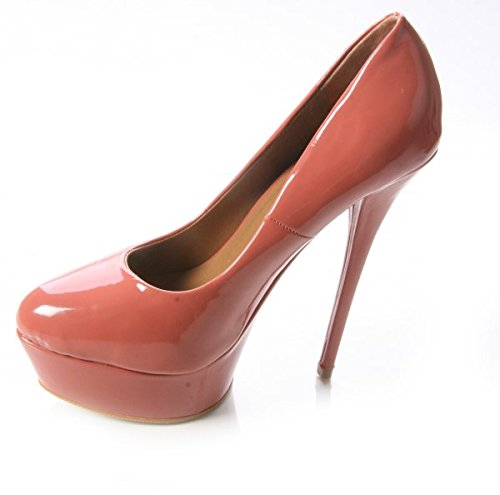 WOMENS LADIES HIGH HEEL PATENT PLATFORM COURT PARTY WORK SHOES SIZES 3-8 Dusty Pink riRAtEu