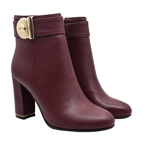 for Heel Boots Verocara Decoration Strap Chunky High Almond Women's Working Wine Buckle Place Toe Ankle Winter qBTtw7T