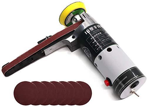 Lijadora de banda Meterk Lijadora de banda eléctrica de mano multifuncional para amolar, pulir y perforar agujeros en metal, madera, piedra