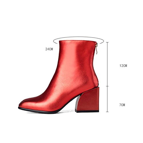 Solid Color Classic Short Suede Boots Bold Fashion Square Head with Thick Bootie RED-34 FHBpa