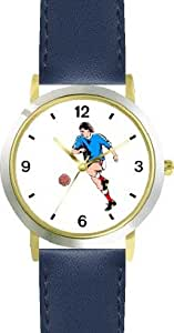 Man or Boy Soccer Player Soccer or Fussball Theme - WATCHBUDDY DELUXE TWO-TONE THEME WATCH - Arabic Numbers - Blue Leather Strap-Children's Size-Small ( Boy's Size & Girl's Size )