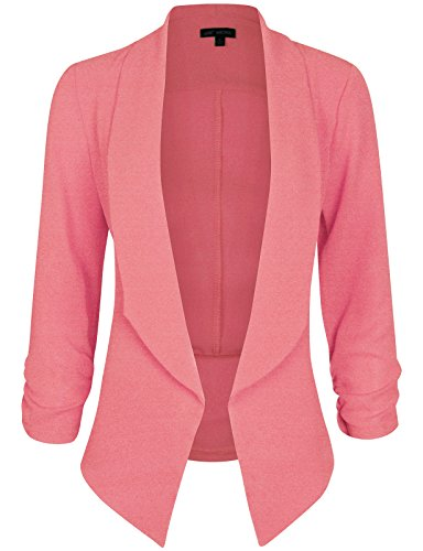 Michel Women's 3/4 Sleeve Blazer Casual Open Front Cardian Jacket Work Office Blazer Neonpink Medium