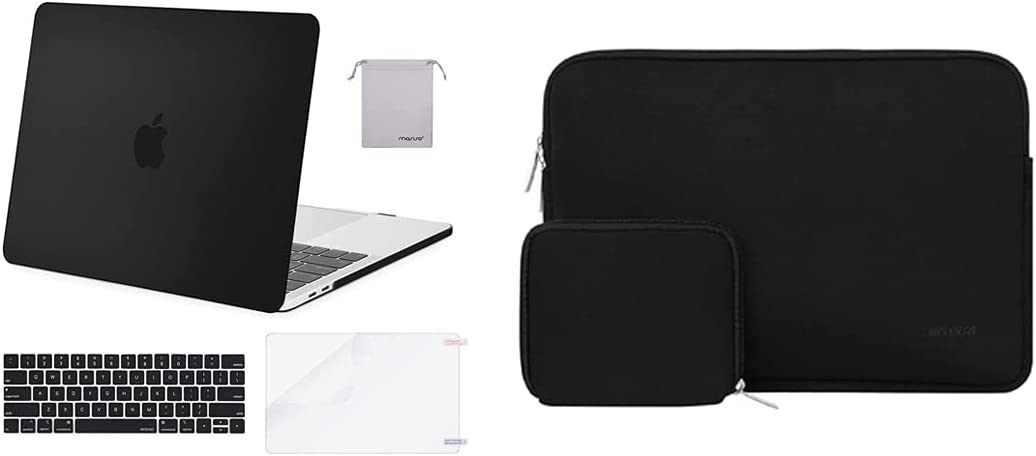 MOSISO Compatible with MacBook Pro 15 inch Case 2016-2019 Release A1990 A1707, Plastic Hard Shell&Neoprene Sleeve Bag with Small Case&Keyboard Cover&Screen Protector&Storage Bag, Black