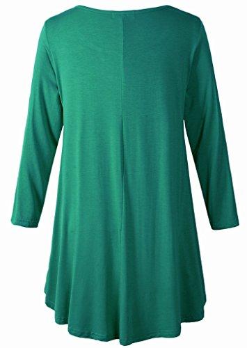 LARACE Women 3/4 Sleeve Tunic Top Loose Fit Flare T-Shirt(3X, Deep Green) by LARACE (Image #3)