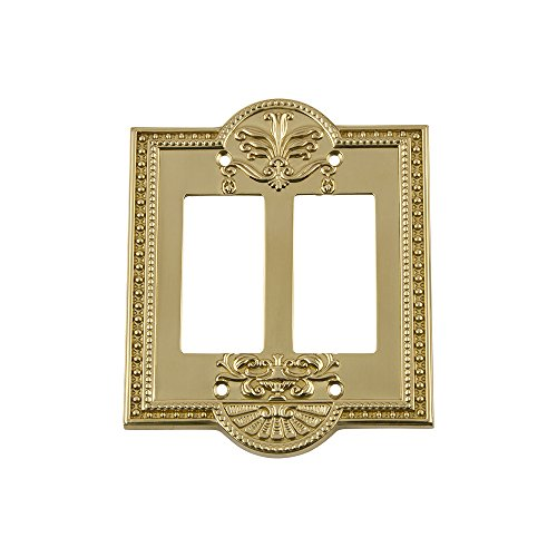 Nostalgic Warehouse 719930 Meadows Switch Plate with Double Rocker, Polished Brass