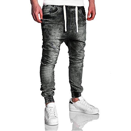 Skinny pizzo Msliy con Jeans Pantaloni personalità Harem neri aderenti Casual Skinny jeans Uomo Uomo UaxgSYU
