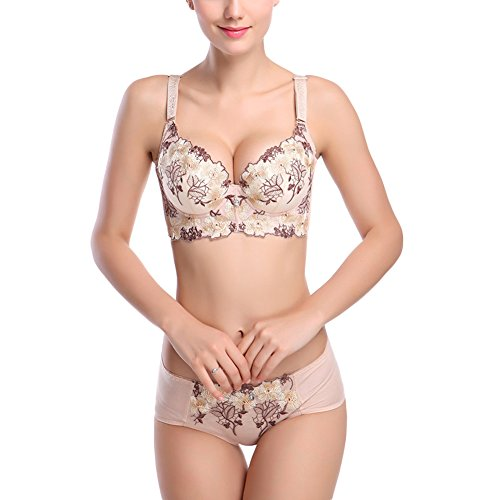 Women's Bra Deep-V Sexy Floral Print Embroidered Super Push Up gather Adjusted Side Support Underwear (38D, (Side Gather)