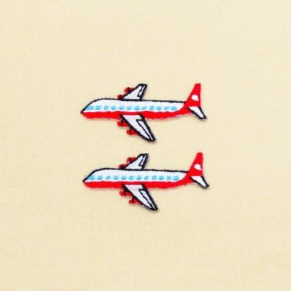COLORFUL探検 アイロン刺繍ワッペン 飛行機・ホワイト(2個セット) N6621200