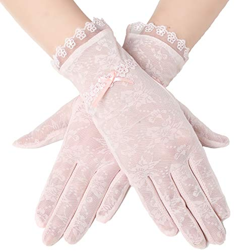 (BABEYOND Floral Lace Gloves for Wedding Opera Party 1920s Flapper Lace Gloves Stretchy Adult Size (Pink-2))